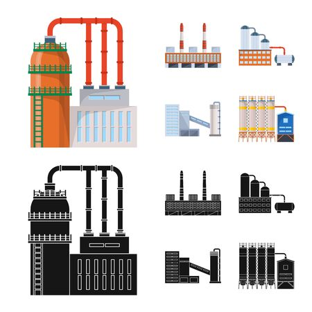 Vector design of production and structure . Set of production and technology stock symbol for web. Ilustrace