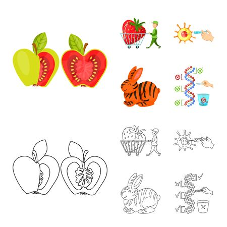 Vector illustration of test and synthetic symbol. Set of test and laboratory stock symbol for web. Imagens - 129876385