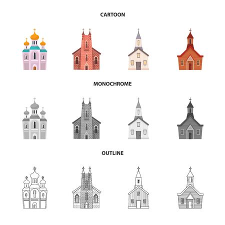 Vector illustration of cult and temple icon. Set of cult and parish stock vector illustration.