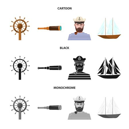 Vector design of travel and attributes  . Collection of travel and seafaring stock symbol for web. Vettoriali