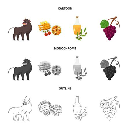 Vector design of and historic  . Collection of and country stock vector illustration.