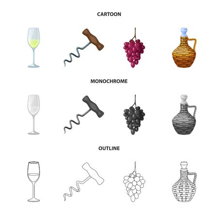 Vector illustration of farm and vineyard icon. Collection of farm and product stock symbol for web. Ilustração