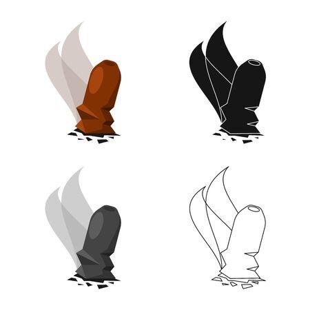 Vector design of cigar and ash icon. Set of cigar and burn stock symbol for web. Иллюстрация