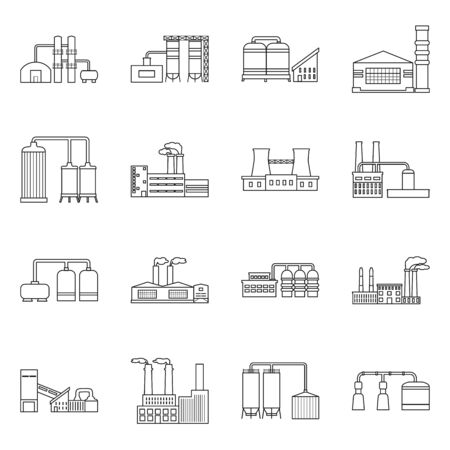 Vector design of factory and industry sign. Collection of factory and construction stock vector illustration. Ilustrace