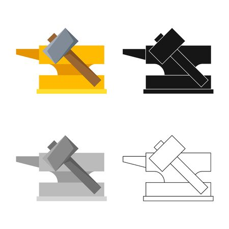 Isolated object of hammer and hephaestus sign. Collection of hammer Stock Vector - 129388273