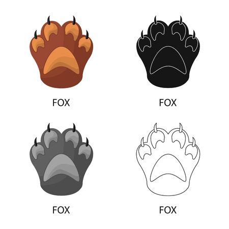 Vektorillustration des Fuchses und des Spurzeichens. Satz von Fuchs- und Pfotenbestandssymbolen für das Web. Vektorgrafik