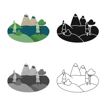 Isolated object of landscape and tree icon. Set of landscape and hill stock symbol for web. Çizim