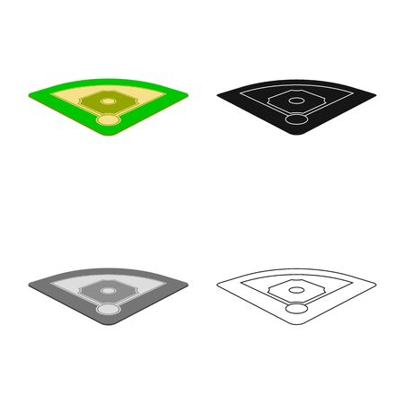 Vector illustration of baseball and field icon. Set of baseball and base stock symbol for web. Banque d'images - 129450803