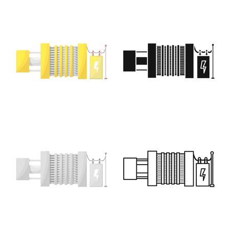 Ilustración de vector de generador e icono de energía. Conjunto de ilustración vectorial de stock generador y alternador.