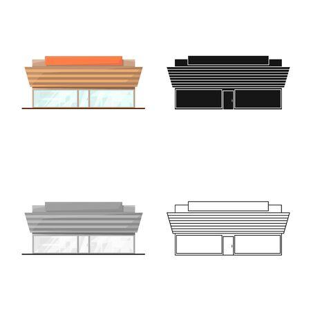 Vector illustration of shop and hypermarket symbol. Collection of shop and office vector icon for stock. Illustration