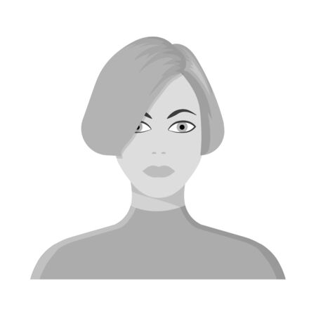 Vector illustration of girl and hairdo . Collection of girl and woman stock vector illustration.
