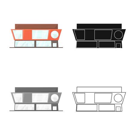 Vector illustration of shop and public icon. Collection of shop and emporium vector icon for stock. Иллюстрация
