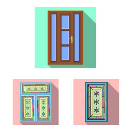 Vector illustration of door and front . Collection of door and wooden stock symbol for web. Stock Illustratie
