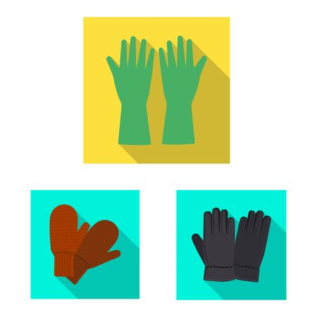 Vector illustration of glove and winter sign. Set of glove and equipment stock vector illustration. Vettoriali