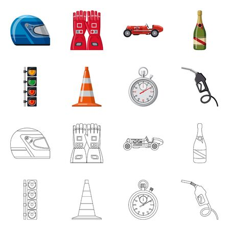 Vector design of car and rally symbol. Collection of car and race stock vector illustration. Иллюстрация