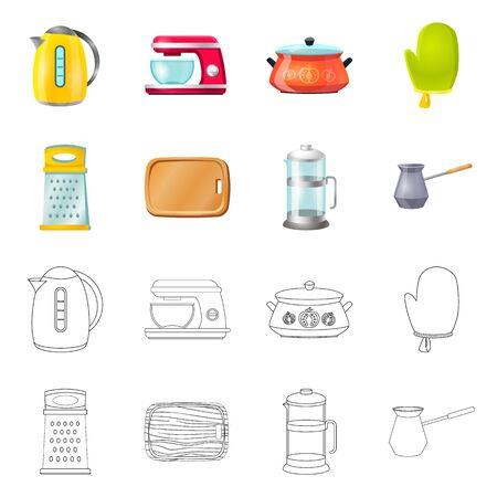 Isolated object of kitchen and cook symbol. Collection of kitchen and appliance vector icon for stock.