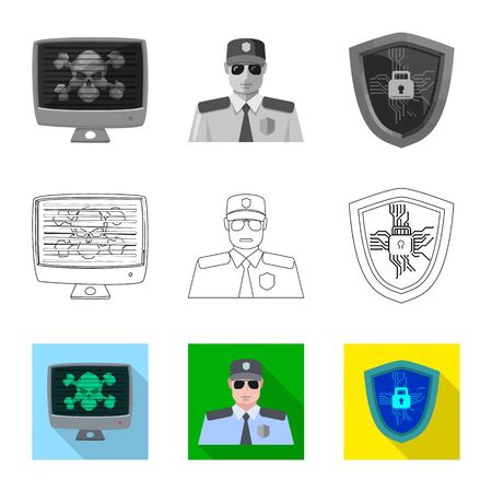 Isolated object of virus and secure  . Set of virus and cyber vector icon for stock.