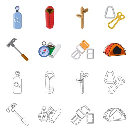 Isolated object of mountaineering and peak  . Collection of mountaineering and camp vector icon for stock.