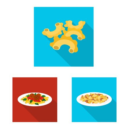 Vector illustration of pasta and carbohydrate icon. Collection of pasta and macaroni stock symbol for web. 일러스트