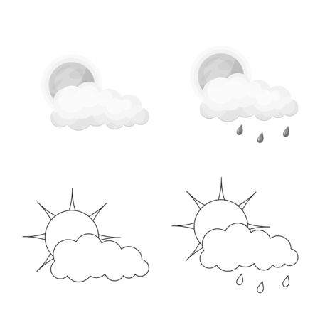 Vector illustration of weather and climate sign. Set of weather and cloud stock vector illustration.