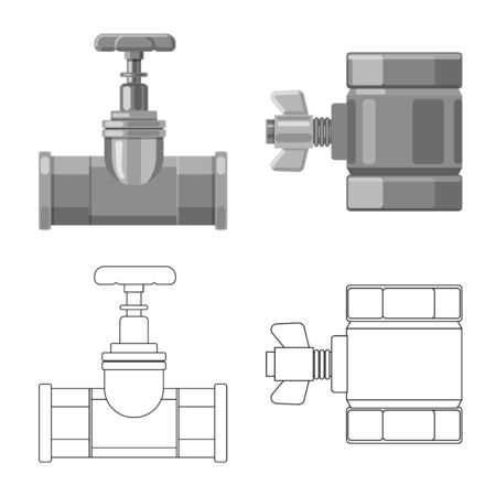 Vector illustration of pipe and tube  . Collection of pipe and pipeline vector icon for stock.