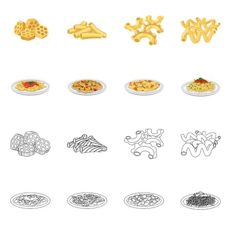 Isolated object of pasta and carbohydrate symbol. Set of pasta and macaroni stock vector illustration. 일러스트