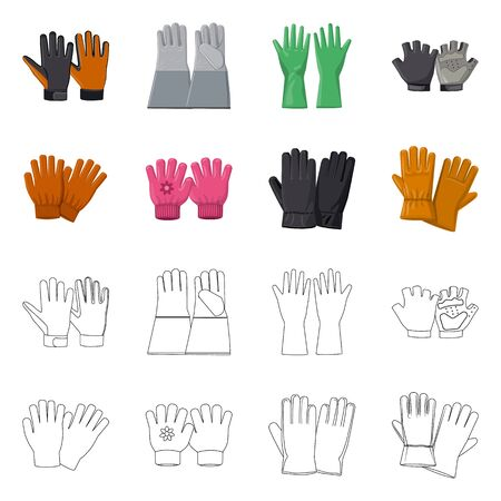 Isolated object of glove and winter icon. Set of glove and equipment stock symbol for web.