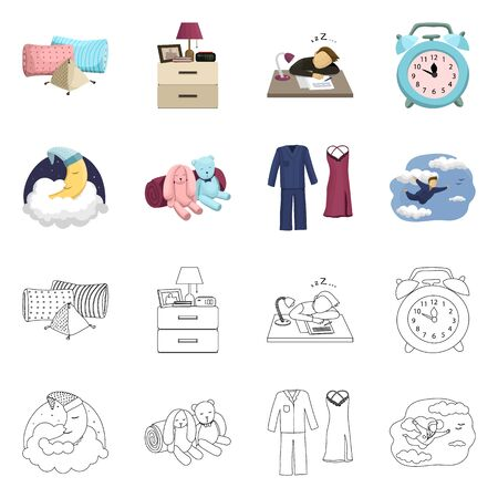 Vector illustration of dreams and night symbol. Collection of dreams and bedroom vector icon for stock. Banque d'images - 130644566