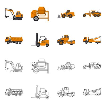 Isolated object of build and construction . Set of build and machinery stock symbol for web. Illusztráció