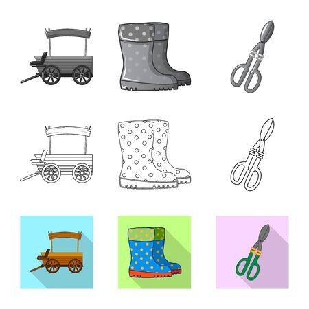 Vector illustration of farm and agriculture symbol. Collection of farm and plant stock vector illustration. Foto de archivo - 129451336