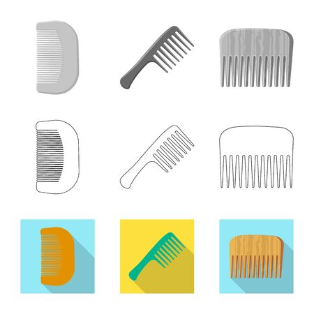 Vector illustration of brush and hair sign. Set of brush and hairbrush stock vector illustration.