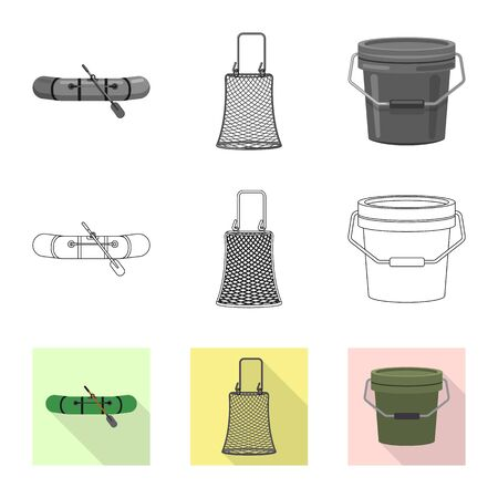 Isolated object of fish and fishing icon. Collection of fish and equipment stock symbol for web. Ilustrace