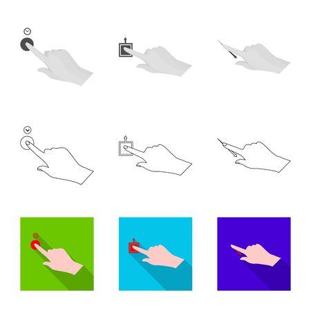 Vector design of touchscreen and hand symbol. Collection of touchscreen and touch stock symbol for web. Foto de archivo - 129451347