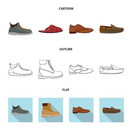 Isolated object of shoe and footwear  . Collection of shoe and foot stock symbol for web.  イラスト・ベクター素材