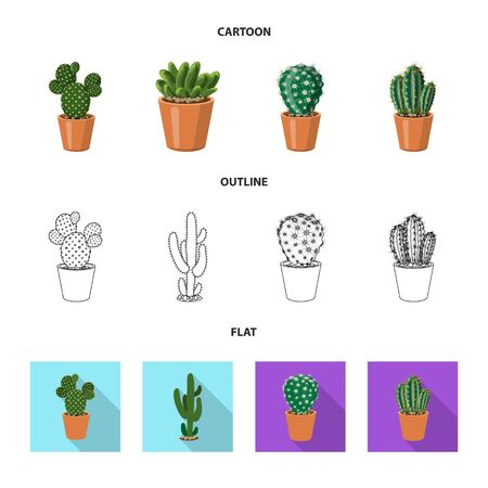 Vector illustration of cactus and pot . Collection of cactus and cacti vector icon for stock. Иллюстрация