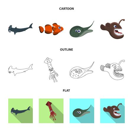 Vector design of sea and animal symbol. Collection of sea and marine vector icon for stock. 일러스트