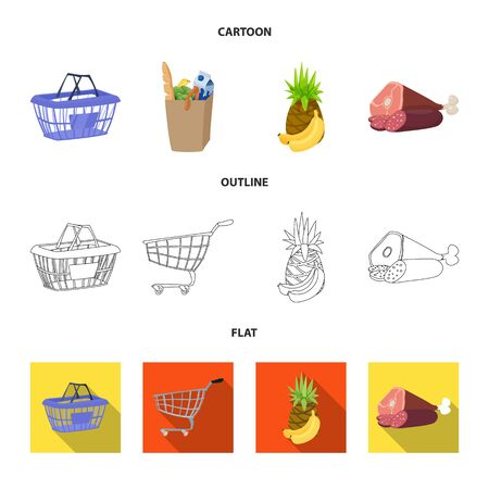 Isolated object of food and drink icon. Set of food and store vector icon for stock.