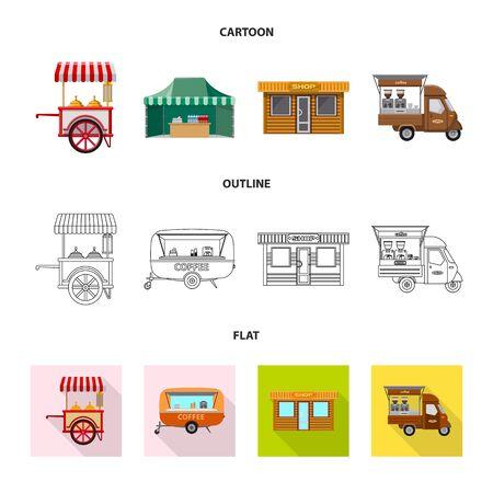 Vektordesign von Markt und Exterieur. Sammlung von Markt- und Lebensmittelvorrat-Vektorillustration.