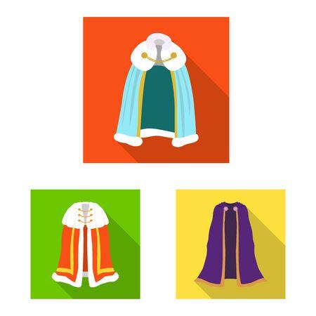 Vector design of material and clothing symbol. Collection of material and garment vector icon for stock. Ilustração