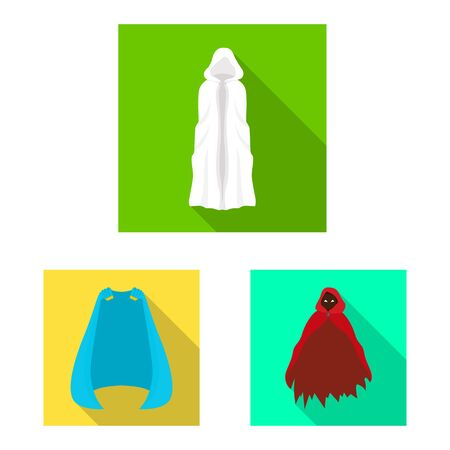 Vector illustration of material and clothing icon. Set of material and garment vector icon for stock.