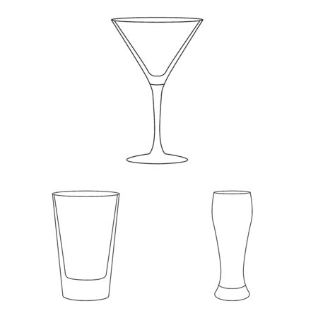 Isolated object of dishes and container icon. Set of dishes and glassware stock vector illustration.