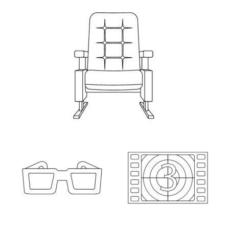 Isolated object of cinematography and studio . Set of cinematography and entertainment stock symbol for web.