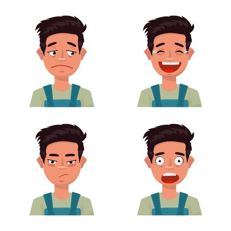Vector illustration of face and boy sign. Collection of face and young stock vector illustration.