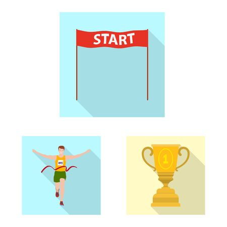 Vector illustration of sport and winner sign. Collection of sport and fitness stock symbol for web. Stock Illustratie