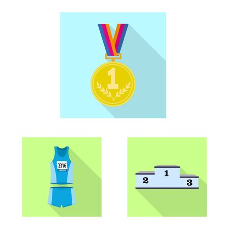 Isolated object of sport and winner icon. Collection of sport and fitness vector icon for stock. Фото со стока - 129452439