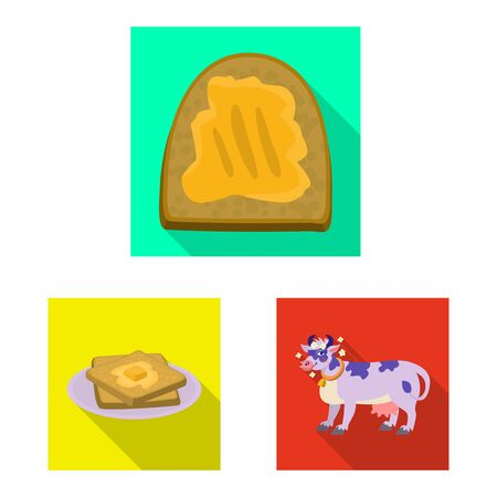 Isolated object of creamy and product . Set of creamy and farm stock vector illustration. Ilustração