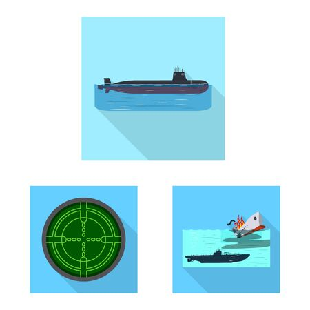 Vector illustration of military and nuclear symbols. Collection of military and ship stock symbol for web.