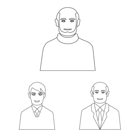 Vector illustration of character and avatar icon. Collection of character and person vector icon for stock. Stock Illustratie