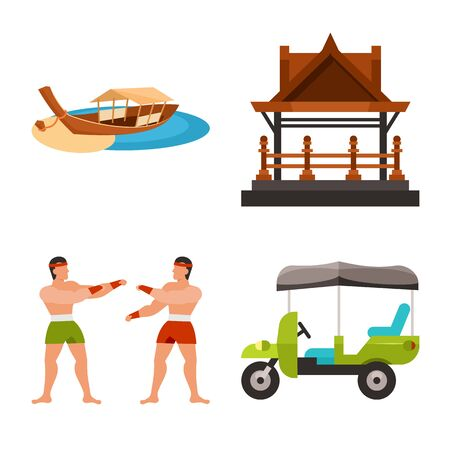Isolated object of thailand and travel icon. Set of thailand and culture stock vector illustration.