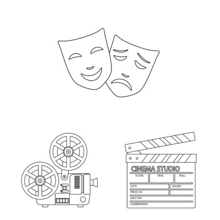 Vector design of cinematography and studio symbol. Set of cinematography and entertainment vector icon for stock.